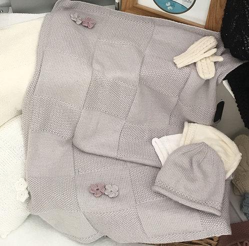Moss stitch squares blanket - cashmere/merino