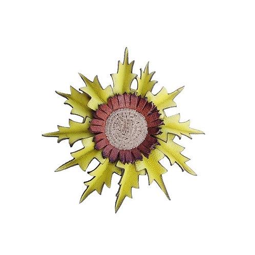 Eguzkilore Cuero Broche  Amarillo