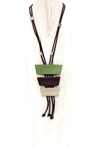Collar de cuero Turín verde