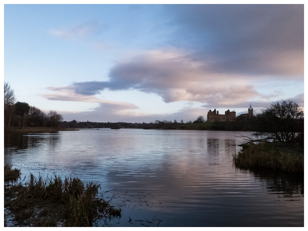 Linthgow palace reflected on a calm Linlithgow Loch