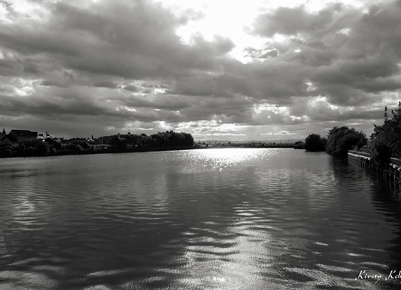 Harbour and Clouds Monochrome