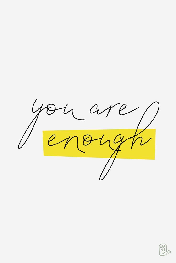 Image with words you are enough in handwriting