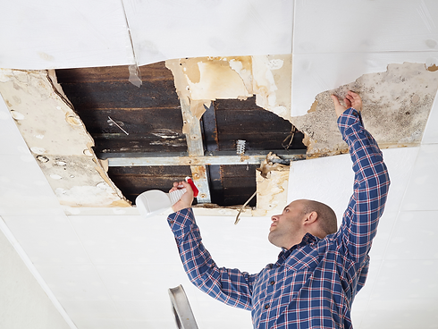 A water damage repair Specialist prepping a ceiling for work in Santa Monica