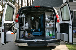 A carpet cleaning van getting ready to steam clean a carpet in Mission Hills, California