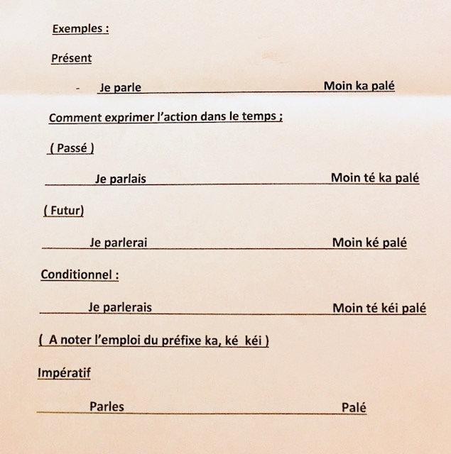 Connaissance de la langue créole
