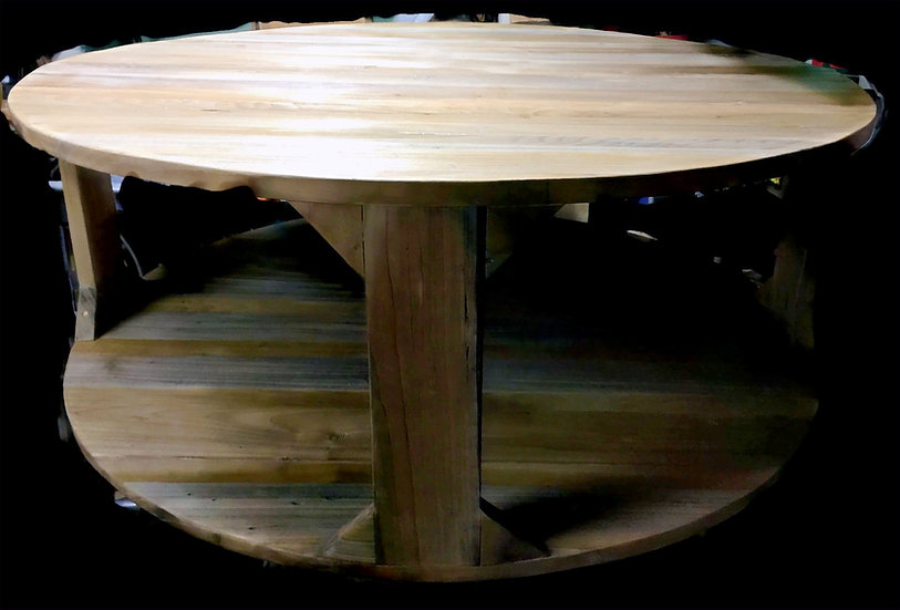 Handcrafted Round Farmhouse Coffee Table with Driftwood Finish