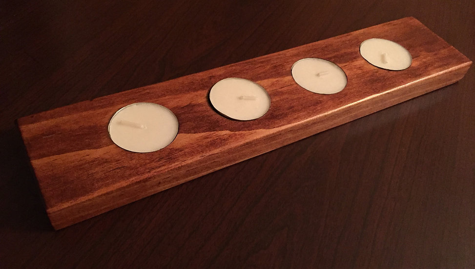 Rustic Wood Tea Light Holder | Candle Holder | Mantel Candle Holder