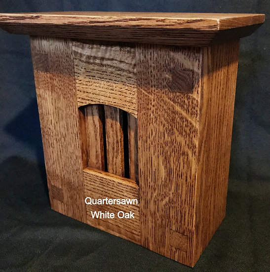 Craftsman Style Wood Doorbell Chime Cover (Quartersawn Oak) with Top