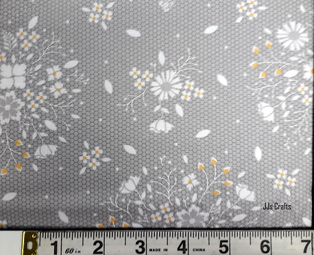 MODA FABRICS SUGARCREEK COREY YODER PRESSED FLOWERS ON NETTING GREY