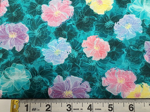 Tossed Floral Dk Turquoise