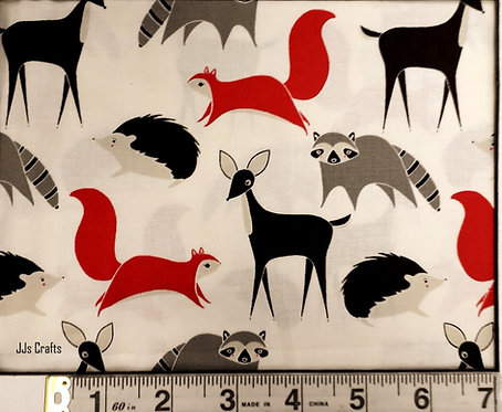 MODA FABRICS GINGIBER BRAMBLE MULTI FOREST ANIMALS