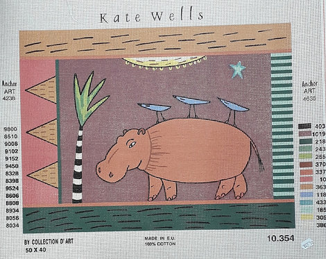 Kate Wells Canvas - Hippo