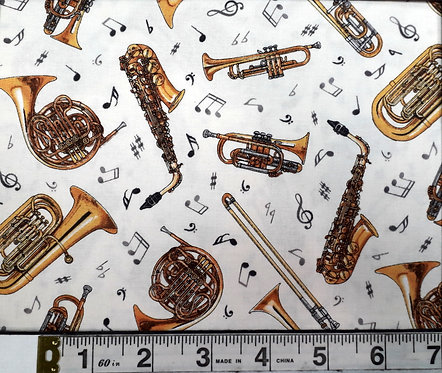 Brass Instruments on white