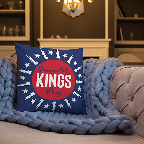 Double Logo blue Premium Pillow