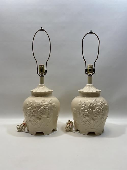 Duo Lampes de Table Vintage en Porcelaine