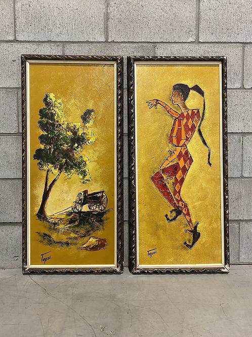 2 Œuvres Vintage Huile sur Panneau  - 2 Vintage Oil on Board Paintings