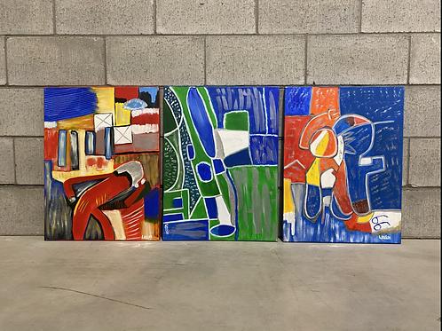 3 Peintures Abstraites sur Toile