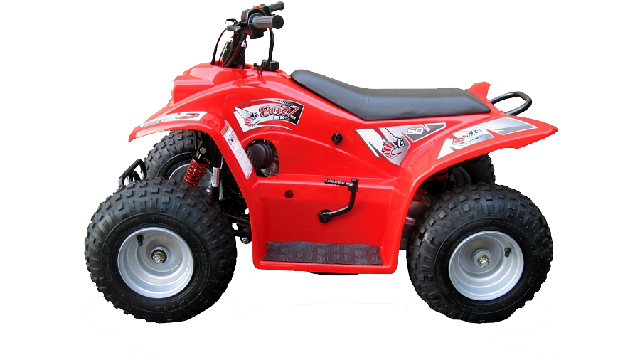 Red Quadzilla Buzz 50, an ideal starter quad with safety at it's heart