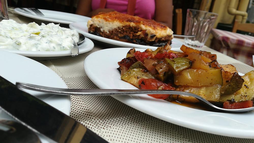 Veggies, tzaziki and moussaka