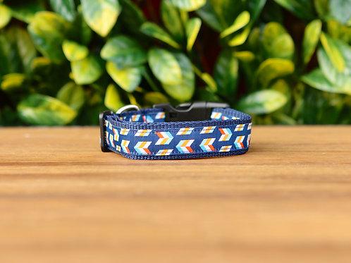 Blue Herringbone Dog Collar / S - L