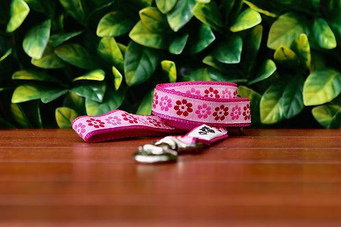 Pink Flower Dog Lead / Dog Leash