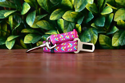 Pink Herringbone Seatbelt / Pet Tether