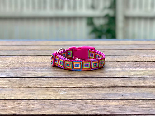 Rainbow Squares Dog Collar / S - L