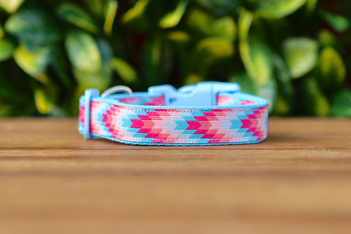 Blue Geometric Dog Collar / Arrows / S - L