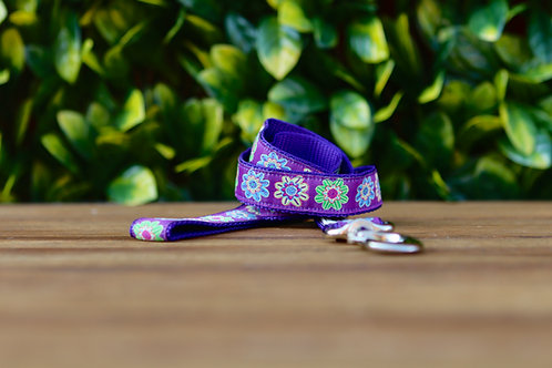 Purple Flower Dog Lead / Dog Leash