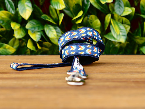 Blue Herringbone Dog Lead / Dog Leash