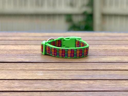 Rainbow Plaid Dog Collar / Tartan / S - L
