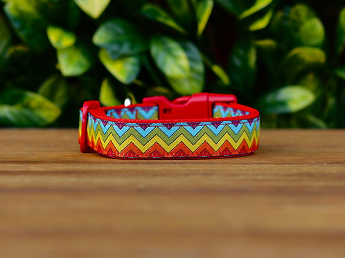 Rainbow Chevron Dog Collar / XS - L
