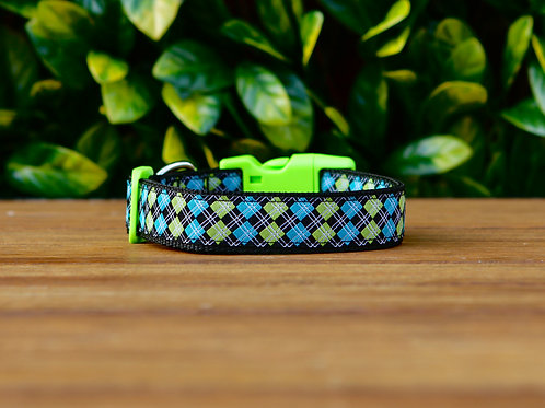 Blue Tartan Dog Collar / XS - L