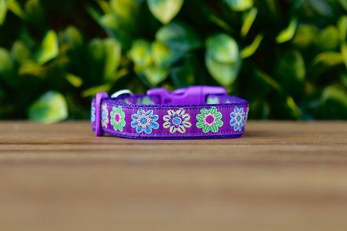 Purple Flower Dog Collar / Floral / XS - L