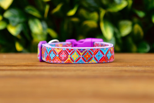 Purple Geometric Dog Collar / XS - L
