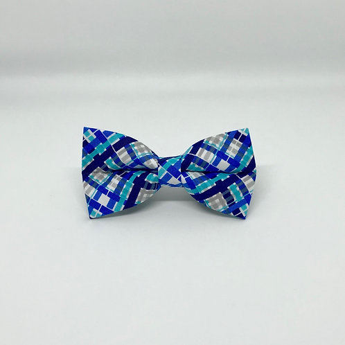 Blue Plaid Bow Tie