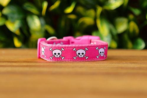 Pink Skulls Dog Collar / XS - L