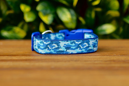 Camouflage Dog Collar / Blue / S - L