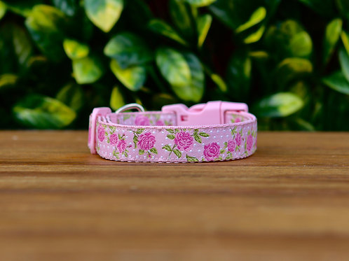 Pink Rose Dog Collar / XS - L