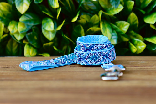 Baby Blue Aztec Dog Lead / Dog Leash