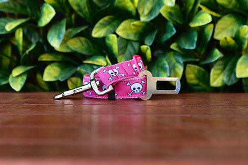 Pink Skulls Seatbelt / Pet Tether