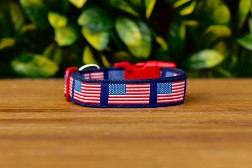 American Flag Dog Collar / S - L