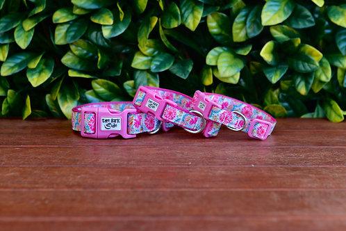 Pink Floral Dog Collar / XS - L