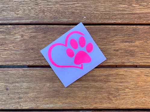 Love Heart & Dog Paw Print Decal / Sticker