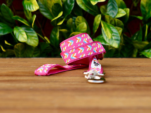 Pink Herringbone Dog Lead / Dog Leash