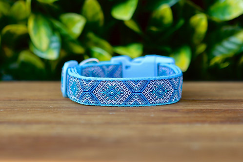Baby Blue Aztec Dog Collar / XS - L