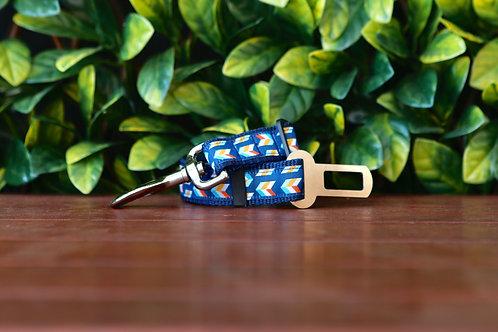 Blue Herringbone Seatbelt / Pet Tether