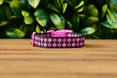 Pink Tartan Dog Collar / XS - L