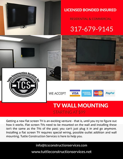 Indianapolis General Contractor, TV Mount, Roofing, Kitchen Remodel Indpls, Bathroom Remodel Indpls