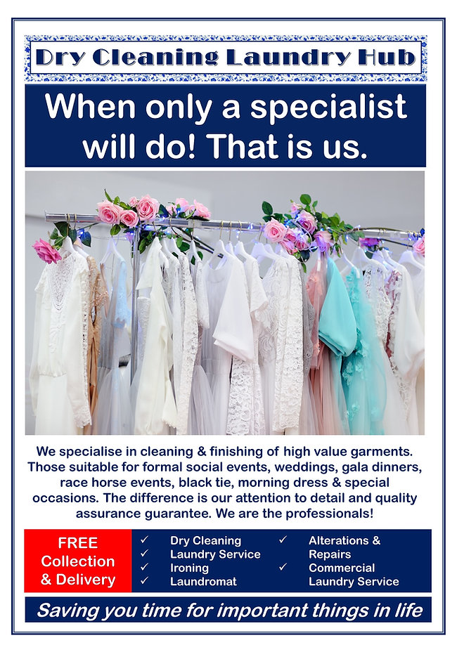 Dry Cleaning Laundry Hub. The Dry Cleaning Hub. Dry Cleaner. Laundry Service. Commercial Laundry Service. Wedding Dress Dry Cleaning. Tailor. Clothing Repairs and Alteration Service. Ironing. Pressing. Retailer Clothing and Uniforms. Fashion Biz. Biz Wear Retailer. Embroidery. Laundromat. Laundrette